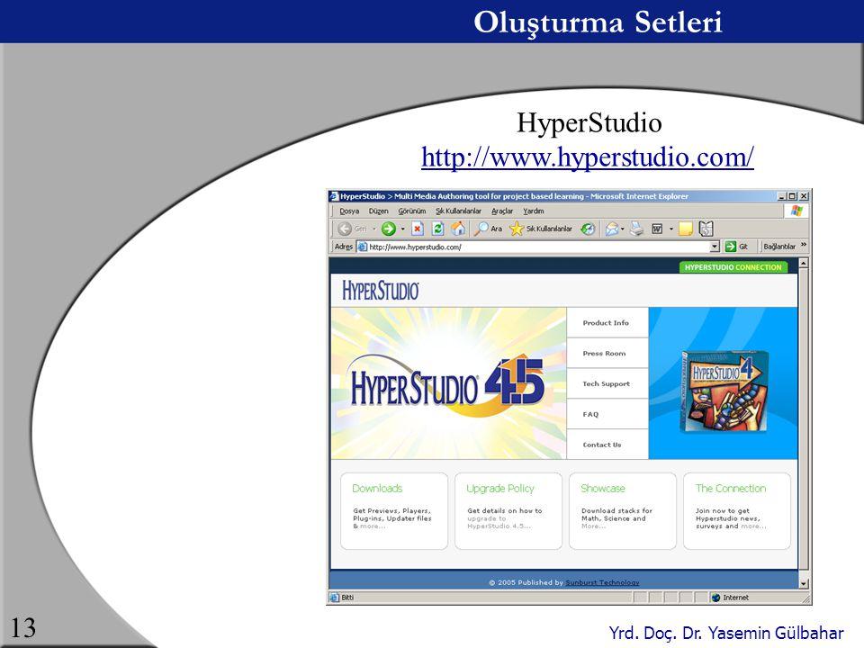 Yrd. Doç. Dr. Yasemin Gülbahar 13 Oluşturma Setleri HyperStudio http://www.hyperstudio.com/