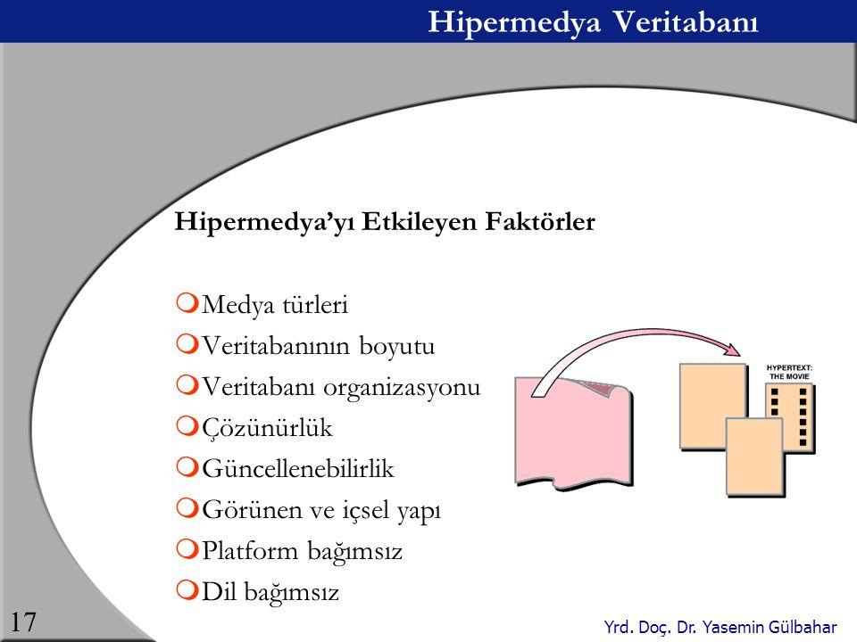 Yrd. Doç. Dr. Yasemin Gülbahar 17 Hipermedya Veritabanı Hipermedya'yı Etkileyen Faktörler  Medya türleri  Veritabanının boyutu  Veritabanı organiza