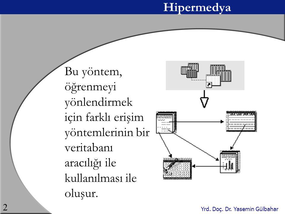 Yrd. Doç. Dr. Yasemin Gülbahar 2 Hipermedya Bu yöntem, öğrenmeyi yönlendirmek için farklı erişim yöntemlerinin bir veritabanı aracılığı ile kullanılma