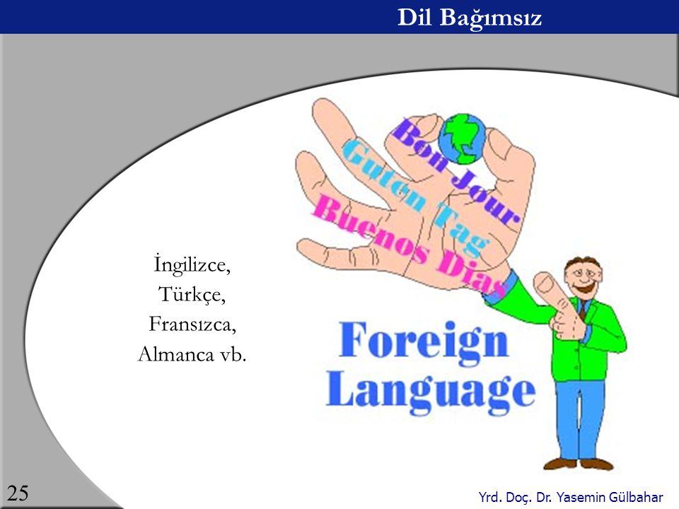 Yrd. Doç. Dr. Yasemin Gülbahar 25 Dil Bağımsız İngilizce, Türkçe, Fransızca, Almanca vb.