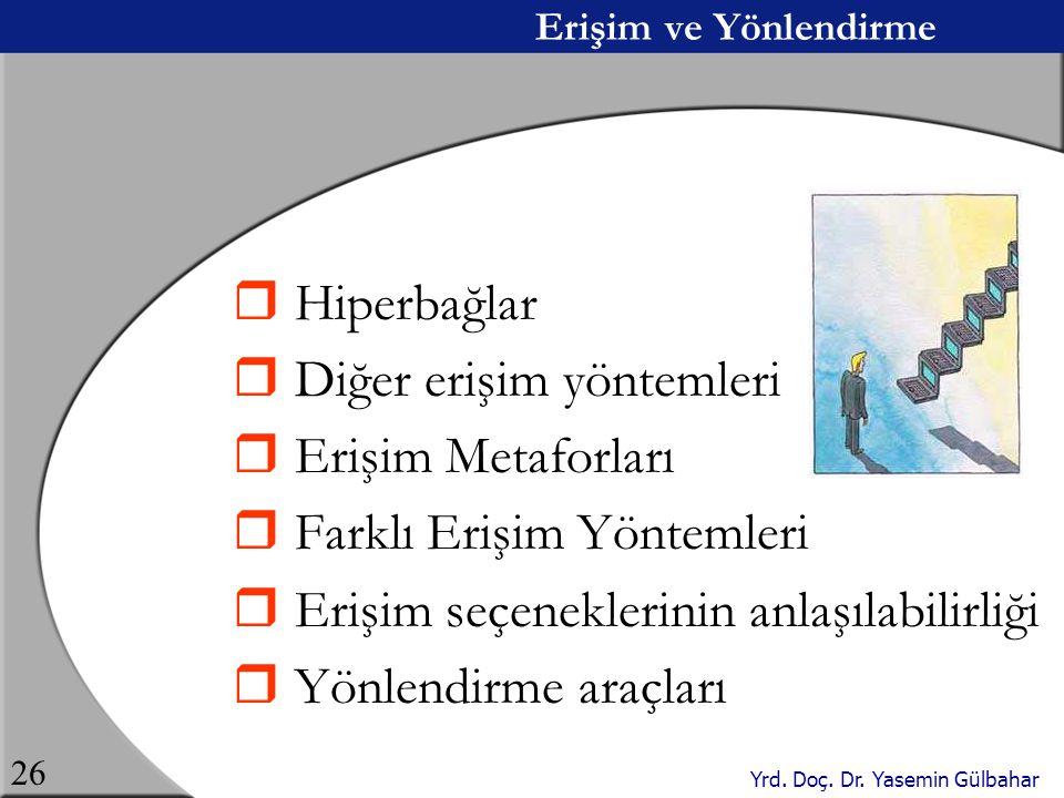 Yrd. Doç. Dr. Yasemin Gülbahar 26 Erişim ve Yönlendirme  Hiperbağlar  Diğer erişim yöntemleri  Erişim Metaforları  Farklı Erişim Yöntemleri  Eriş