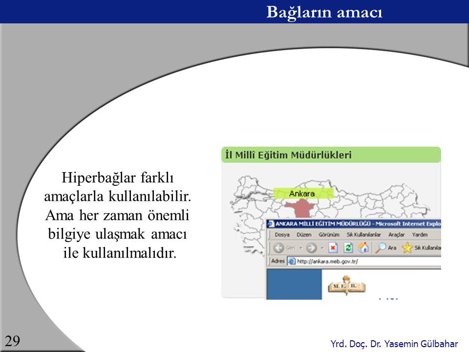 Yrd. Doç. Dr. Yasemin Gülbahar 29 Bağların amacı Hiperbağlar farklı amaçlarla kullanılabilir. Ama her zaman önemli bilgiye ulaşmak amacı ile kullanılm