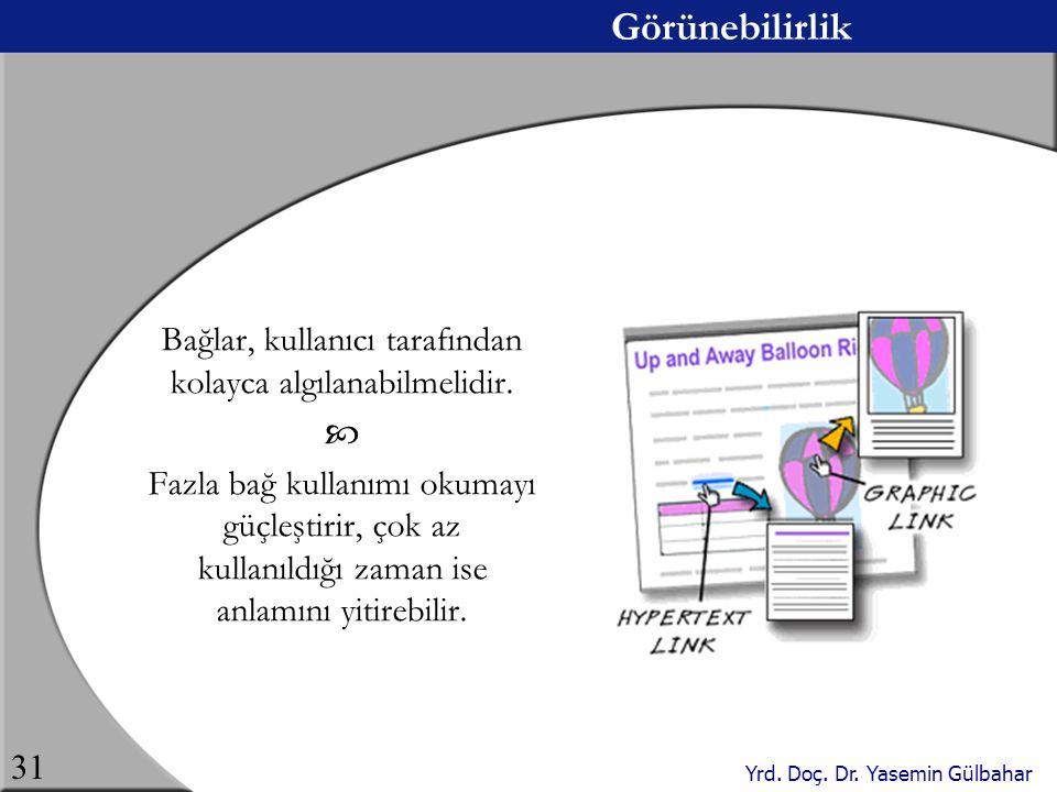 Yrd. Doç. Dr. Yasemin Gülbahar 31 Görünebilirlik Bağlar, kullanıcı tarafından kolayca algılanabilmelidir.  Fazla bağ kullanımı okumayı güçleştirir, ç
