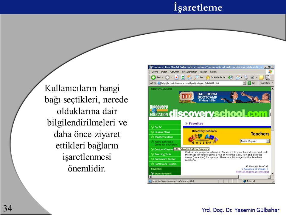 Yrd. Doç. Dr. Yasemin Gülbahar 34 İşaretleme Kullanıcıların hangi bağı seçtikleri, nerede olduklarına dair bilgilendirilmeleri ve daha önce ziyaret et
