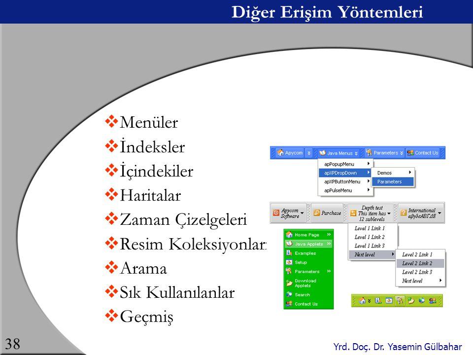 Yrd. Doç. Dr. Yasemin Gülbahar 38 Diğer Erişim Yöntemleri  Menüler  İndeksler  İçindekiler  Haritalar  Zaman Çizelgeleri  Resim Koleksiyonları 