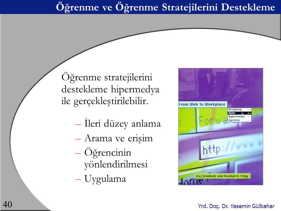 Yrd. Doç. Dr. Yasemin Gülbahar 40 Öğrenme ve Öğrenme Stratejilerini Destekleme Öğrenme stratejilerini destekleme hipermedya ile gerçekleştirilebilir.