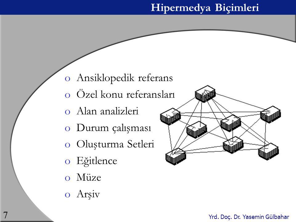 Yrd. Doç. Dr. Yasemin Gülbahar 7 Hipermedya Biçimleri oAnsiklopedik referans oÖzel konu referansları oAlan analizleri oDurum çalışması oOluşturma Setl