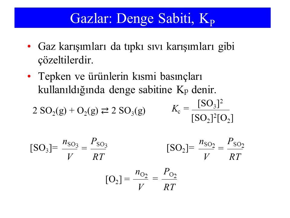 Gazlar: Denge Sabiti, K P •Gaz karışımları da tıpkı sıvı karışımları gibi çözeltilerdir. •Tepken ve ürünlerin kısmi basınçları kullanıldığında denge s