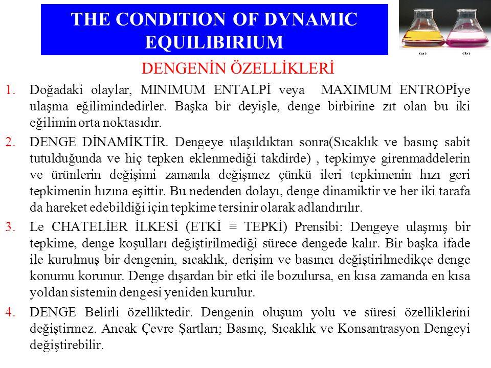 THE CONDITION OF DYNAMIC EQUILIBIRIUM DENGENİN ÖZELLİKLERİ 1.Doğadaki olaylar, MINIMUM ENTALPİ veya MAXIMUM ENTROPİye ulaşma eğilimindedirler. Başka b