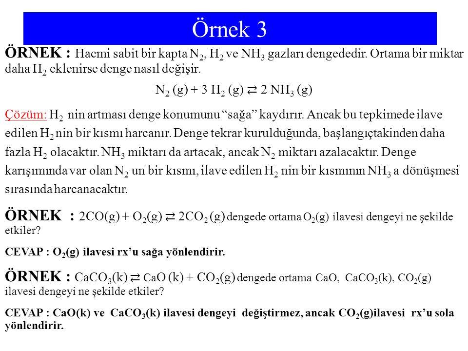 Örnek 3 ÖRNEK : Hacmi sabit bir kapta N 2, H 2 ve NH 3 gazları dengededir. Ortama bir miktar daha H 2 eklenirse denge nasıl değişir. N 2 (g) + 3 H 2 (