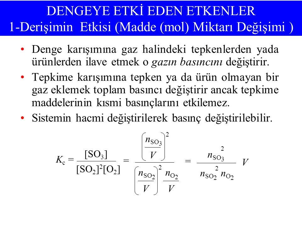 DENGEYE ETKİ EDEN ETKENLER 1-Derişimin Etkisi (Madde (mol) Miktarı Değişimi ) •Denge karışımına gaz halindeki tepkenlerden yada ürünlerden ilave etmek