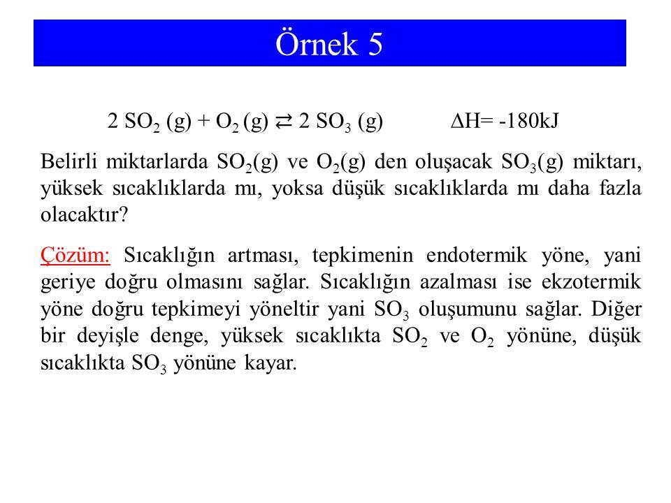 Örnek 5 2 SO 2 (g) + O 2 (g) ⇄ 2 SO 3 (g) ∆H= -180kJ Belirli miktarlarda SO 2 (g) ve O 2 (g) den oluşacak SO 3 (g) miktarı, yüksek sıcaklıklarda mı, y