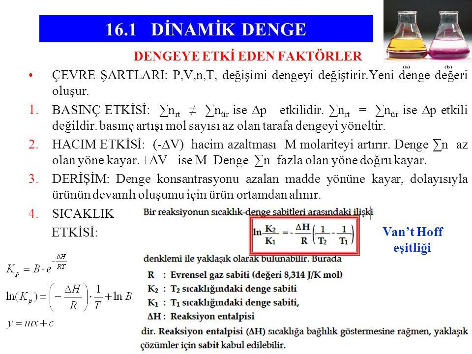 DENGEYE ETKİ EDEN FAKTÖRLER •ÇEVRE ŞARTLARI: P,V,n,T, değişimi dengeyi değiştirir.Yeni denge değeri oluşur. 1.BASINÇ ETKİSİ: ∑n rt ≠ ∑n ür ise Δp etki