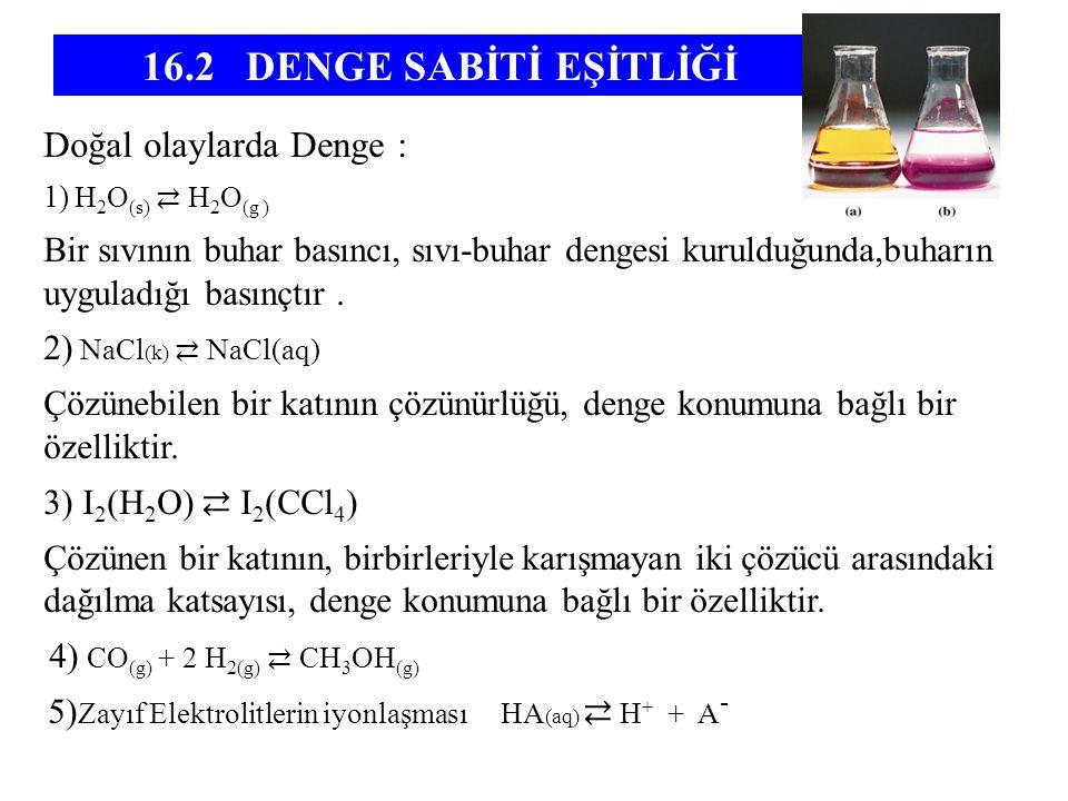 Doğal olaylarda Denge : 1) H 2 O (s) ⇄ H 2 O (g ) Bir sıvının buhar basıncı, sıvı-buhar dengesi kurulduğunda,buharın uyguladığı basınçtır. 2) NaCl (k)
