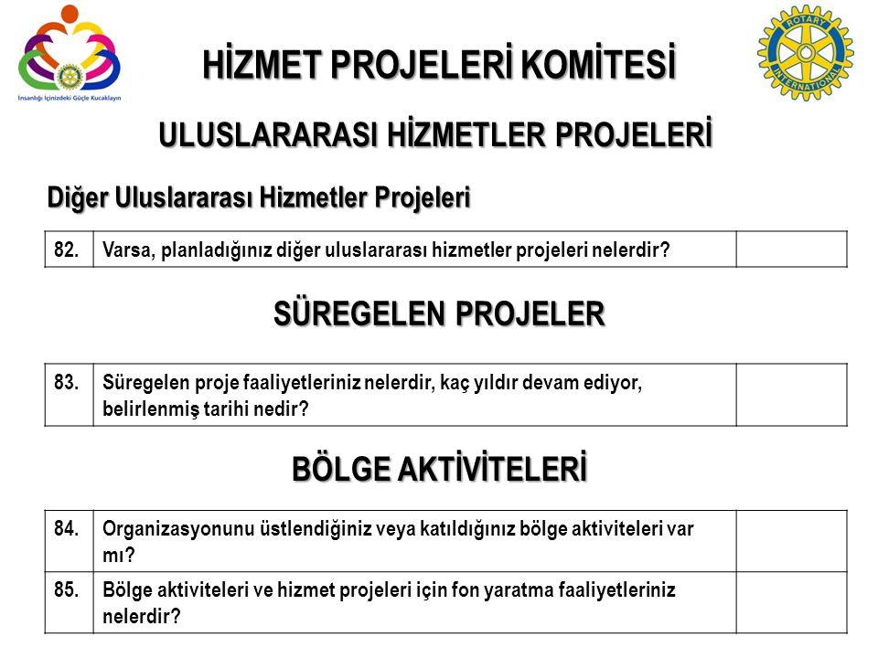 Diğer Uluslararası Hizmetler Projeleri 82.Varsa, planladığınız diğer uluslararası hizmetler projeleri nelerdir? 83.Süregelen proje faaliyetleriniz nel