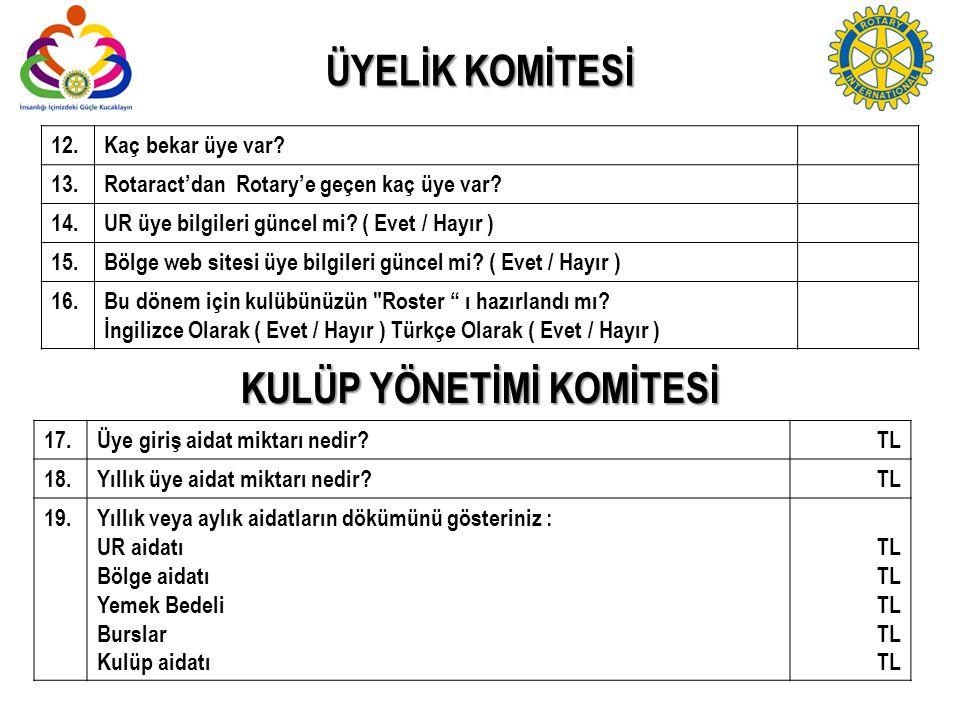 ÜYELİK KOMİTESİ 12.Kaç bekar üye var? 13.Rotaract'dan Rotary'e geçen kaç üye var? 14. UR üye bilgileri güncel mi? ( Evet / Hayır ) 15.Bölge web sitesi