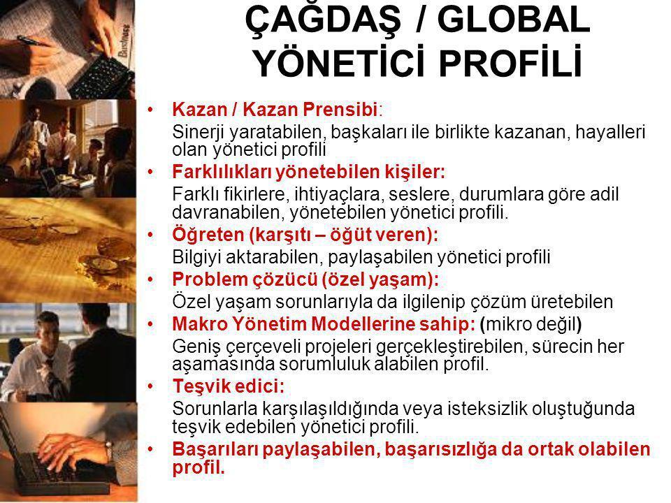 ÇAĞDAŞ / GLOBAL YÖNETİCİ PROFİLİ •Kazan / Kazan Prensibi: Sinerji yaratabilen, başkaları ile birlikte kazanan, hayalleri olan yönetici profili •Farklı