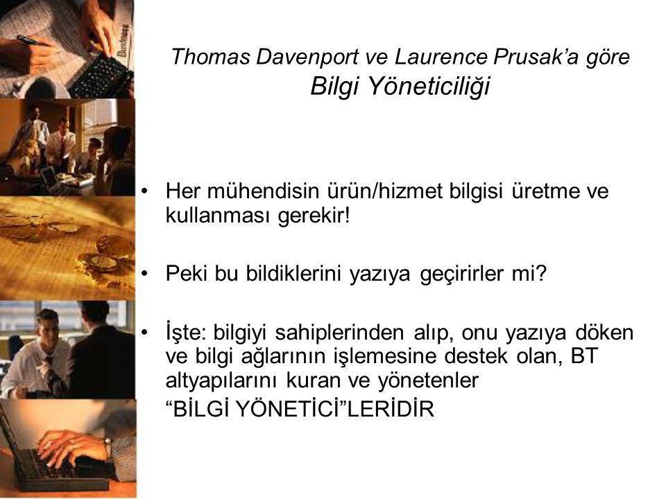 Thomas Davenport ve Laurence Prusak'a göre Bilgi Yöneticiliği •Her mühendisin ürün/hizmet bilgisi üretme ve kullanması gerekir! •Peki bu bildiklerini