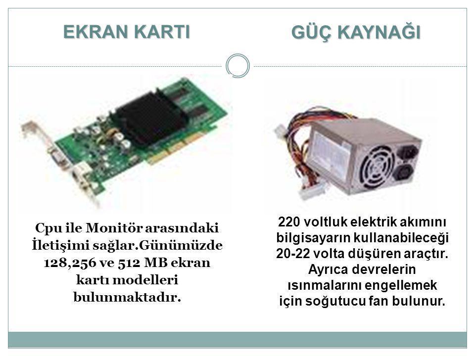 Cpu ile Monitör arasındaki İletişimi sağlar.Günümüzde 128,256 ve 512 MB ekran kartı modelleri bulunmaktadır. EKRAN KARTI 220 voltluk elektrik akımını