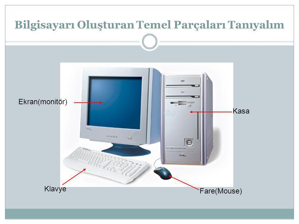 Bilgisayarı Oluşturan Temel Parçaları Tanıyalım Ekran(monitör) Klavye Kasa Fare(Mouse)