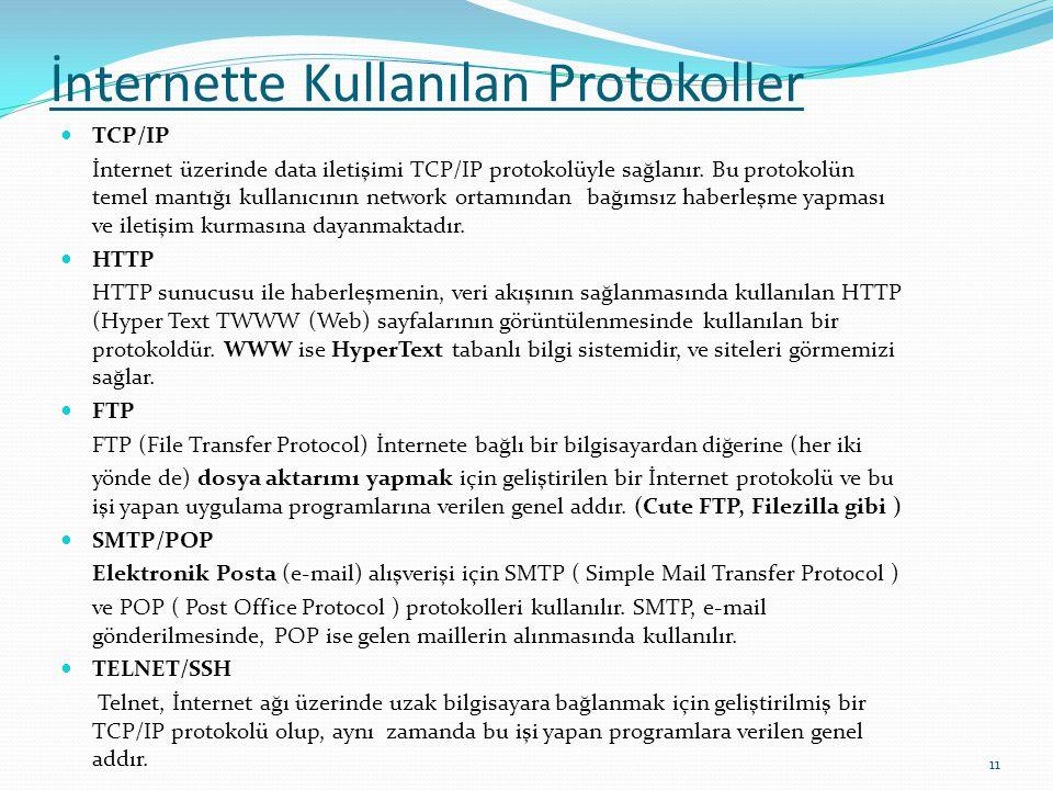 İnternette Kullanılan Protokoller  TCP/IP İnternet üzerinde data iletişimi TCP/IP protokolüyle sağlanır. Bu protokolün temel mantığı kullanıcının net