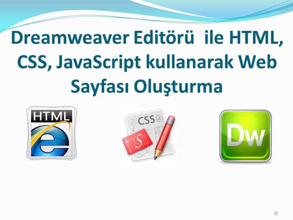 Dreamweaver Editörü ile HTML, CSS, JavaScript kullanarak Web Sayfası Oluşturma 17