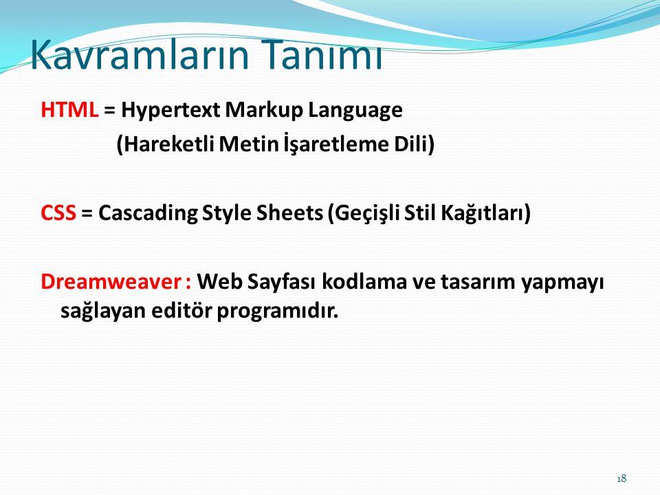 Kavramların Tanımı HTML = Hypertext Markup Language (Hareketli Metin İşaretleme Dili) CSS = Cascading Style Sheets (Geçişli Stil Kağıtları) Dreamweave
