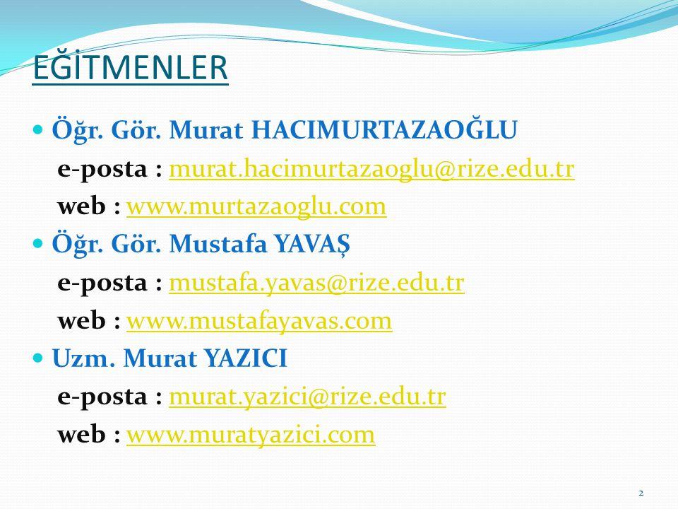 EĞİTMENLER  Öğr. Gör. Murat HACIMURTAZAOĞLU e-posta : murat.hacimurtazaoglu@rize.edu.trmurat.hacimurtazaoglu@rize.edu.tr web : www.murtazaoglu.comwww