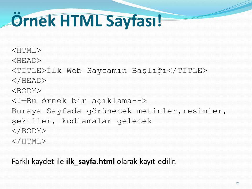 Örnek HTML Sayfası! İlk Web Sayfamın Başlığı Buraya Sayfada görünecek metinler,resimler, şekiller, kodlamalar gelecek Farklı kaydet ile ilk_sayfa.html