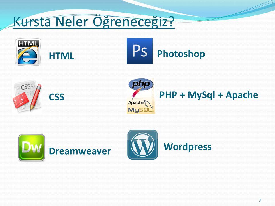 Kursta Neler Öğreneceğiz? HTML CSS Dreamweaver Photoshop PHP + MySql + Apache Wordpress 3