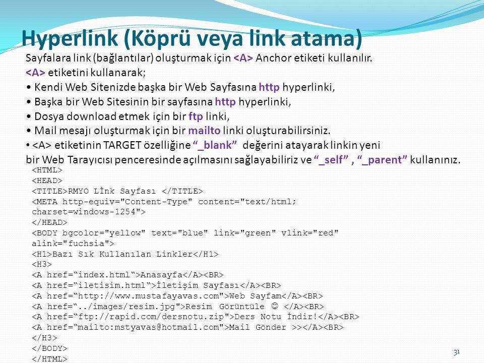 Hyperlink (Köprü veya link atama) Sayfalara link (bağlantılar) oluşturmak için Anchor etiketi kullanılır. etiketini kullanarak; • Kendi Web Sitenizde