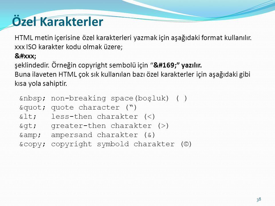Özel Karakterler HTML metin içerisine özel karakterleri yazmak için aşağıdaki format kullanılır. xxx ISO karakter kodu olmak üzere; &#xxx; şeklindedir