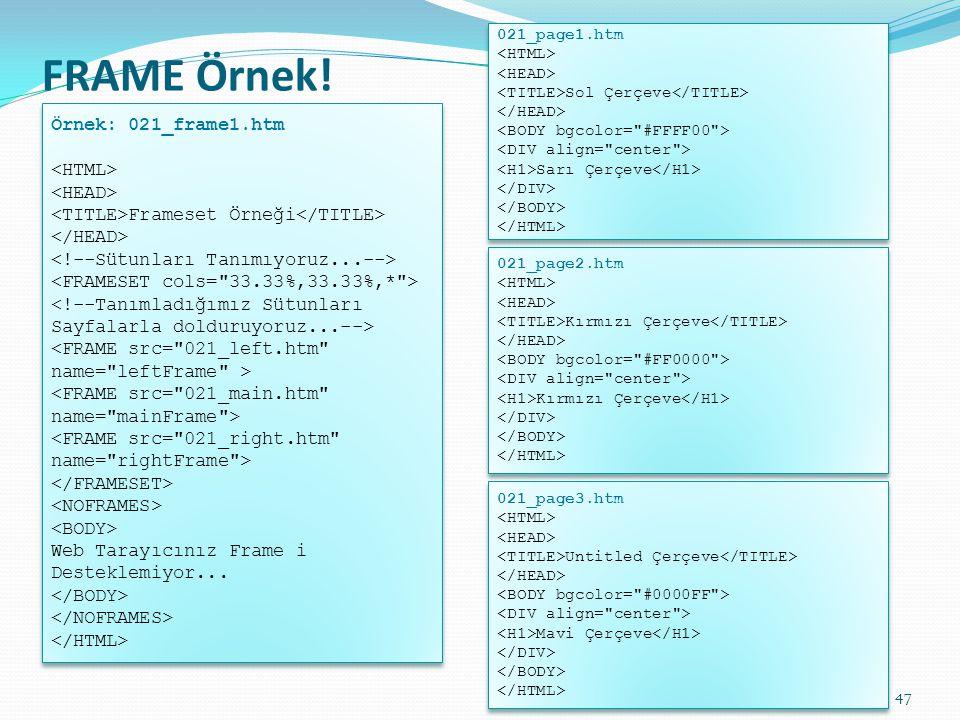 FRAME Örnek! Örnek: 021_frame1.htm Frameset Örneği Web Tarayıcınız Frame i Desteklemiyor... Örnek: 021_frame1.htm Frameset Örneği Web Tarayıcınız Fram