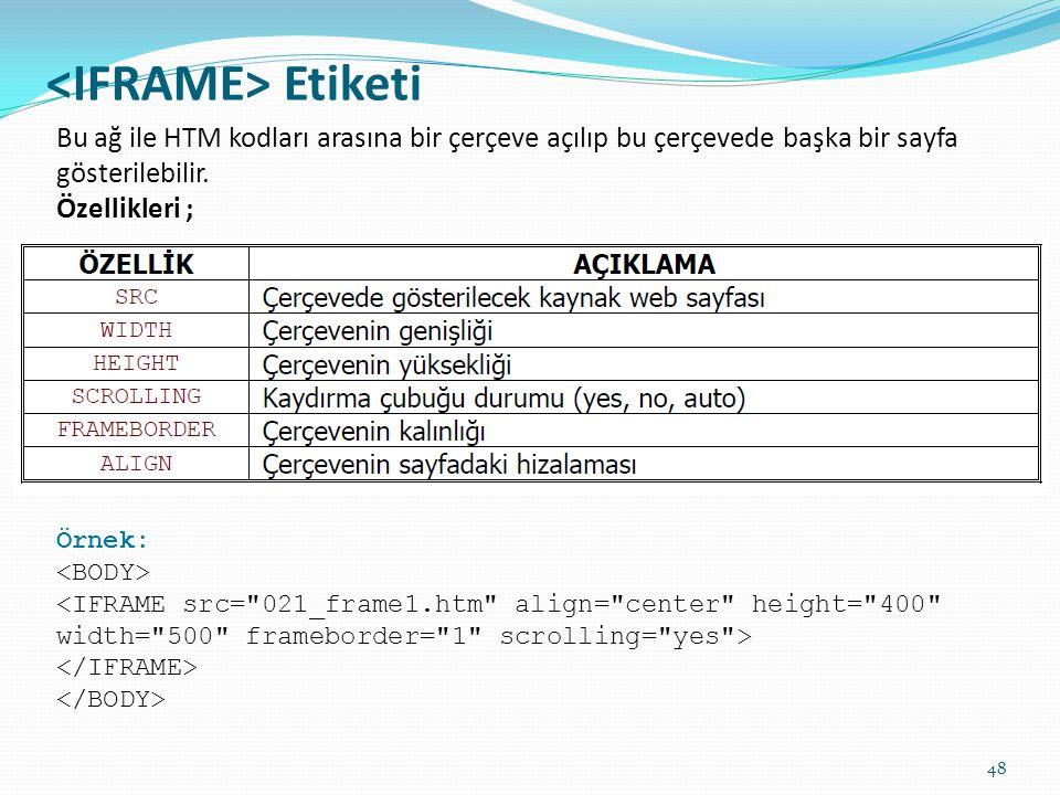 Etiketi Bu ağ ile HTM kodları arasına bir çerçeve açılıp bu çerçevede başka bir sayfa gösterilebilir. Özellikleri ; Örnek: <IFRAME src=
