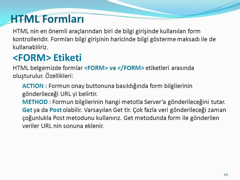 HTML Formları HTML nin en önemli araçlarından biri de bilgi girişinde kullanılan form kontrolleridir. Formları bilgi girişinin haricinde bilgi gösterm