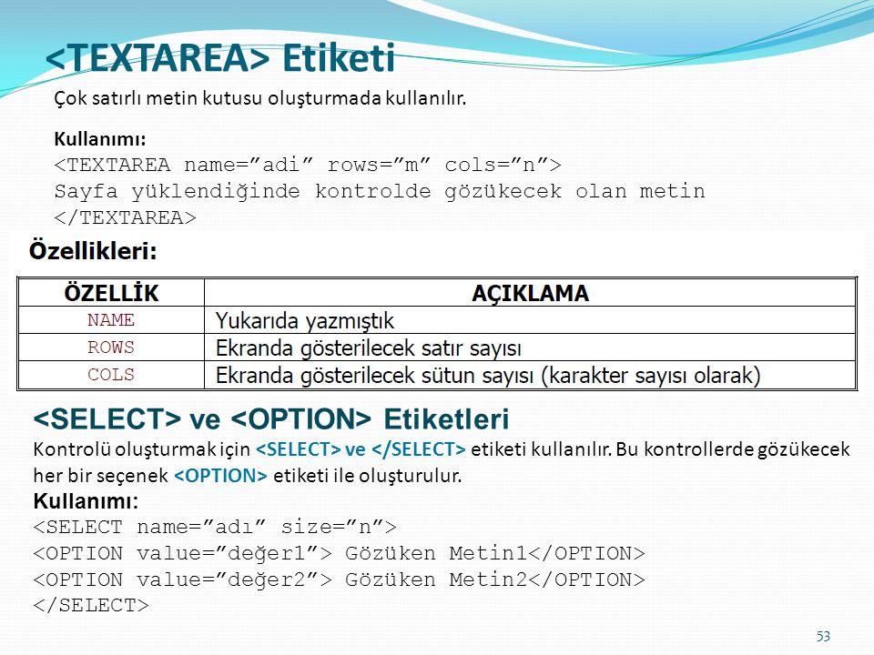 Etiketi Çok satırlı metin kutusu oluşturmada kullanılır. Kullanımı: Sayfa yüklendiğinde kontrolde gözükecek olan metin ve Etiketleri Kontrolü oluşturm
