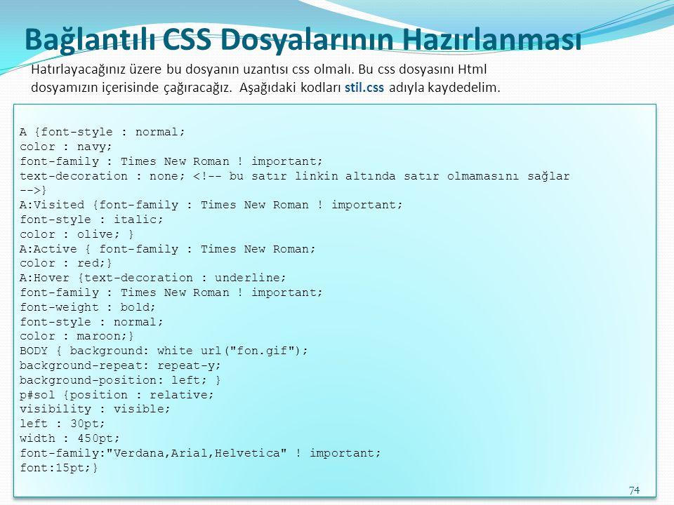 Bağlantılı CSS Dosyalarının Hazırlanması A {font-style : normal; color : navy; font-family : Times New Roman ! important; text-decoration : none; <!--