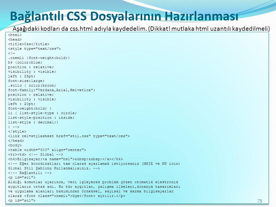 Bağlantılı CSS Dosyalarının Hazırlanması Css <!—.onemli {font-weight:bold;} h4 {color:blue; position : relative; visibility : visible; left : 25pt; fo