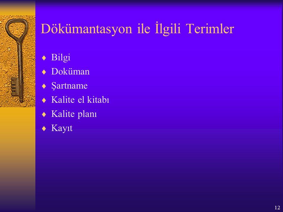 12 Dökümantasyon ile İlgili Terimler  Bilgi  Doküman  Şartname  Kalite el kitabı  Kalite planı  Kayıt