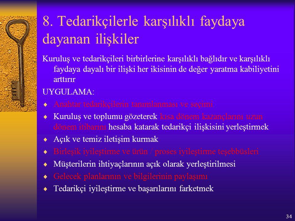 34 8. Tedarikçilerle karşılıklı faydaya dayanan ilişkiler Kuruluş ve tedarikçileri birbirlerine karşılıklı bağlıdır ve karşılıklı faydaya dayalı bir i