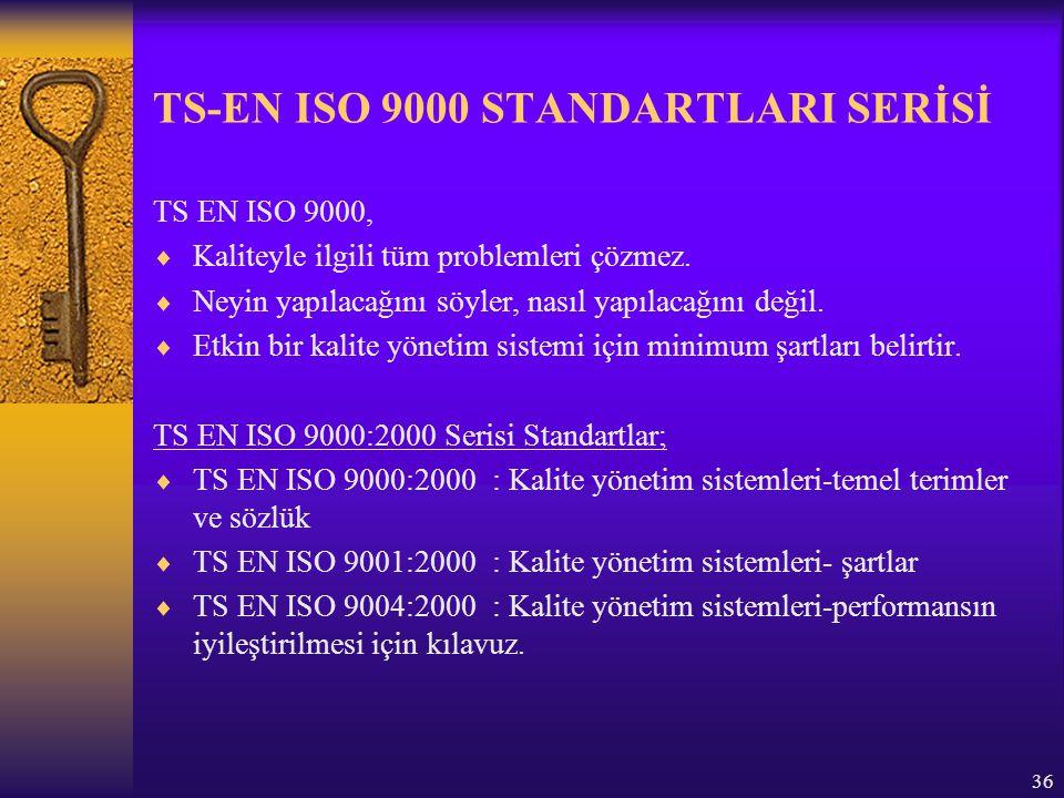 37 STANDARTLARIN YAPILARI TS-EN-ISO 9000:2000  Terimler va tanımlar  Kalite yönetim sistemlerinin temelleri ve elemanları  Proses yaklaşımı ve jenerik modelinin tanıtılması TS-EN-ISO 9001:2000  Sistem ve dökümantasyonun genel şartları  Üst yönetimin sorumlulukları  Kaynak yönetimi  Ürün gerçekleştirme  Ölçme, analiz ve iyileştirme TS-EN-ISO 9004:2000  ISO 9001 yapısına paralellik gösterir ve ISO 9001 in şartlarının metnini içerir  Özdeğerlendirme için kılavuzluk sağlar  İyileltirme için net bir metod sağlar