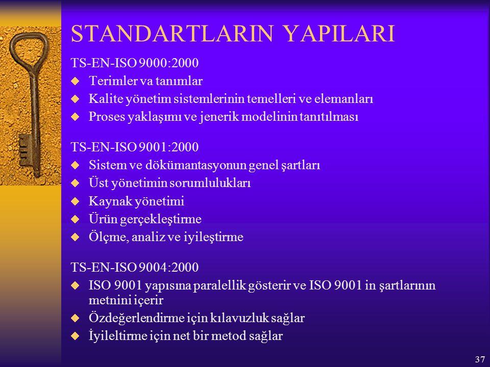 38 YAPI: TS EN ISO 9000:2000 kalite yönetim sistemi standartları; TS EN ISO 9001:1994 ün 20 elemanı ve TS EN ISO 9001:1994 ün kılavuz bilgileri beş ana bölümde yeniden düzenlenmiştir:  Kalite sistemi  Yönetim sorumluluğu  Kaynak yönetimi  Ürün gerçekleştirme  Ölçme, analiz, iyileştirme Yeni standartların proses odaklı olmasından dolayı şartlar ve kılavuzlarla ilgili olarak bu yaklaşıma uygun bir sıralama bulunmaktadır.