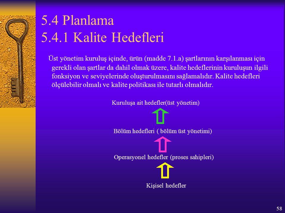 58 5.4 Planlama 5.4.1 Kalite Hedefleri Üst yönetim kuruluş içinde, ürün (madde 7.1.a) şartlarının karşılanması için gerekli olan şartlar da dahil olma