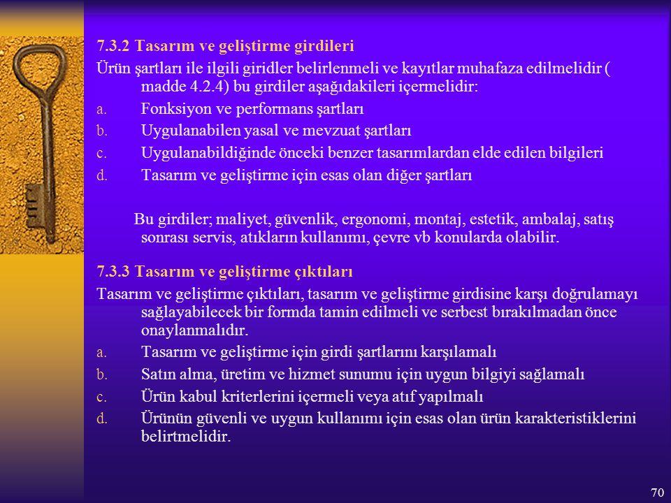 70 7.3.2 Tasarım ve geliştirme girdileri Ürün şartları ile ilgili giridler belirlenmeli ve kayıtlar muhafaza edilmelidir ( madde 4.2.4) bu girdiler aş