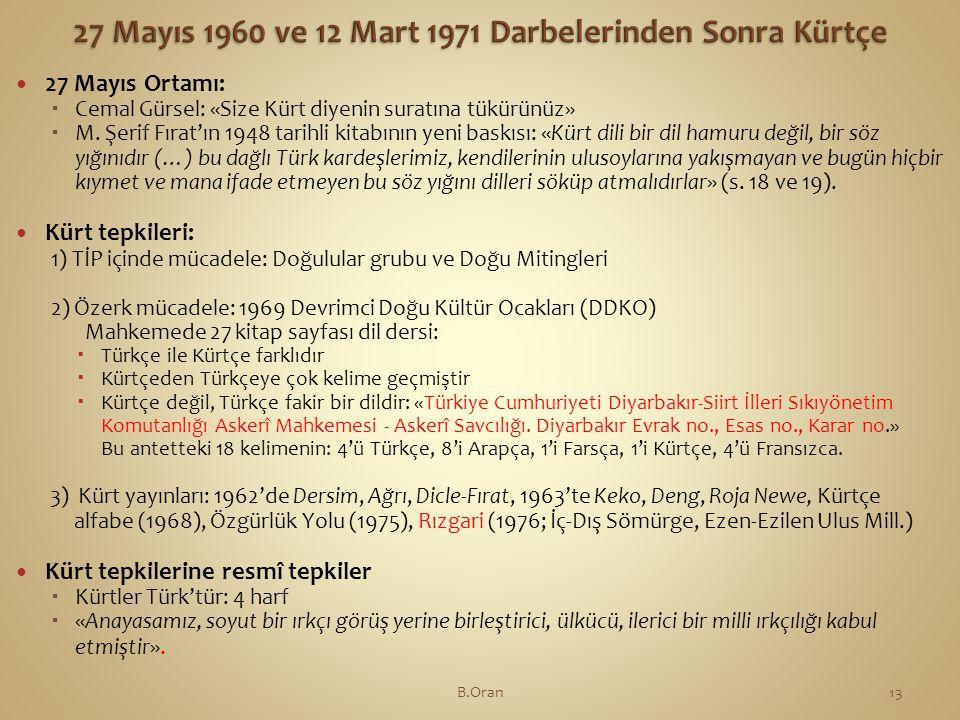  27 Mayıs Ortamı:  Cemal Gürsel: «Size Kürt diyenin suratına tükürünüz»  M.