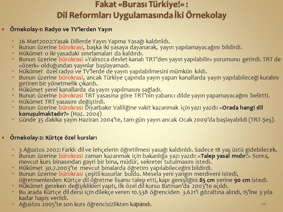  Örnekolay-1: Radyo ve TV'lerden Yayın  26 Mart2002:Yasak Dillerde Yayın Yapma Yasağı kaldırıldı.