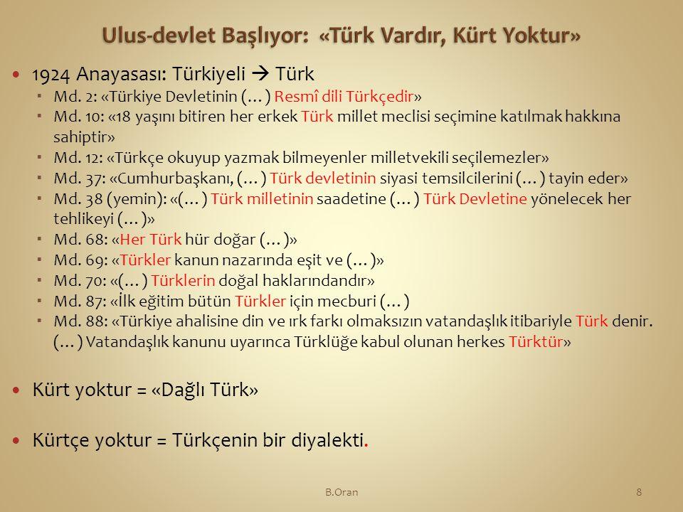  1924 Anayasası: Türkiyeli  Türk  Md.2: «Türkiye Devletinin (…) Resmî dili Türkçedir»  Md.