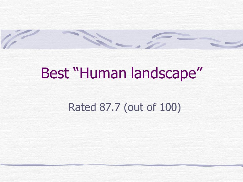"Best ""Human landscape"" Rated 87.7 (out of 100)"