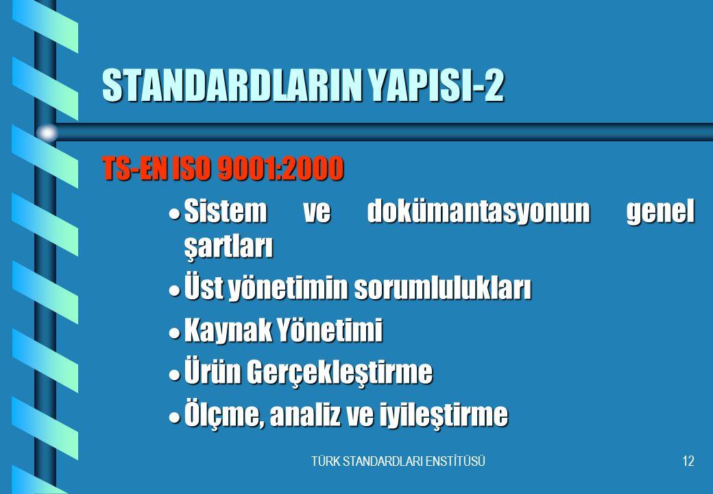 TÜRK STANDARDLARI ENSTİTÜSÜ12 STANDARDLARIN YAPISI-2 TS-EN ISO 9001:2000  Sistem ve dokümantasyonun genel şartları  Üst yönetimin sorumlulukları  K