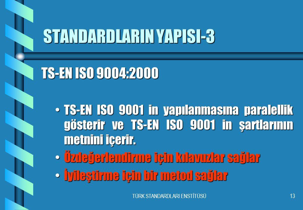 TÜRK STANDARDLARI ENSTİTÜSÜ13 STANDARDLARIN YAPISI-3 TS-EN ISO 9004:2000 •TS-EN ISO 9001 in yapılanmasına paralellik gösterir ve TS-EN ISO 9001 in şartlarının metnini içerir.
